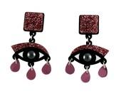 Eyes drop earrings in pink glitter perspex