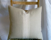 Natural Linen Decorative Pillow Cover With Vintage Grainsack Pillow Antique French Linen Rustic Cottage Repurposed