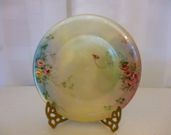 Vintage Hand Painted Small Porcelain Plate With Roses