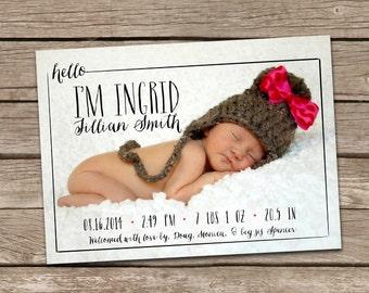 Birth Announcement : Hello Ingrid Baby Girl Custom Photo Birth Announcement