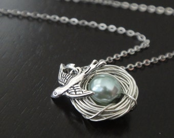 Pale Teal Pearl Bird Nest Necklace