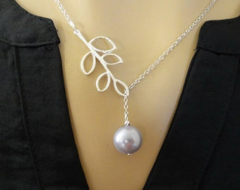 Lavender Pearl Lariat Necklace