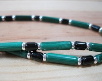 Malachite, Black Onyx, Silver Necklace, Gemstone Necklace, Mens Beaded Necklace, Womens Beaded Necklace, Mens Malachite Necklace