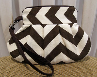 Pleated Cotton Fabric Wristlet in Chocolate Brown and Cream Chevron Stripe With Detachable Strap and Zipper Close