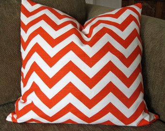 "Orange and White Chevron Print,  One Decorative Throw Pillow Cover, 18"" x 18"", Zipper Closure"