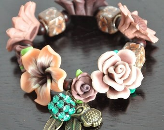 Coffee - Coffee Shade Polymer Clay Flowers Bracelet