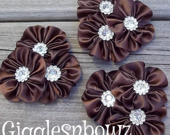 PeTiTE SiZE Set of 3 Embellished Satin CLuSTeR Flowers- BRoWN- 2.5 inch Size