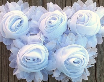 New to Shop- 3 Inch Chiffon Rolled Rose with Ruffles- WHiTE,  Set of FiVE