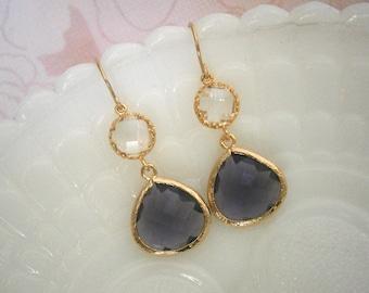 Amethyst Earrings, Clear Crystal Earrings, Purple Earrings, Gold Earrings, Gifts for Her, Jewelry Under 40