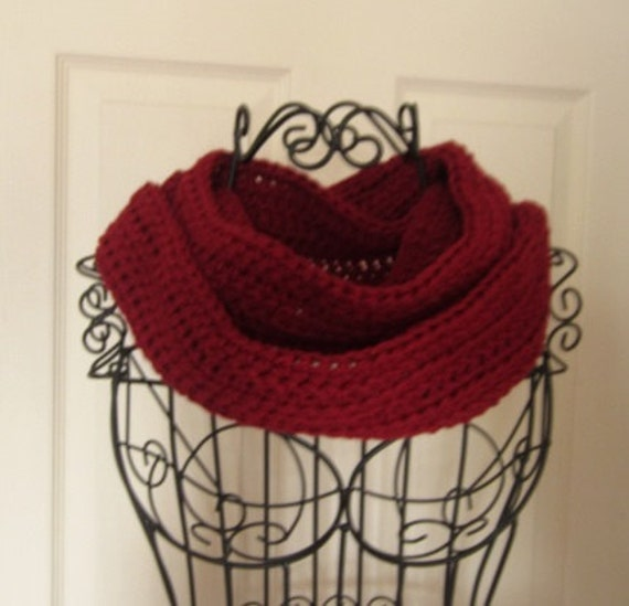 Long Dark Red Infinity Scarf Crocheted Scarf Necklace Accessory