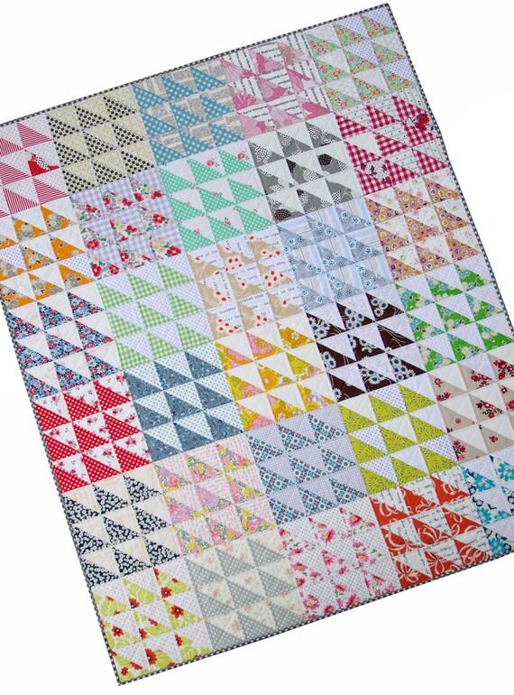 Retro Half Square Triangle Quilt