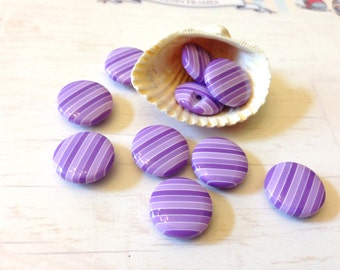 14.5 mm matching resin buttons, 10 pcs - small shank buttons, purple and lavender stripes