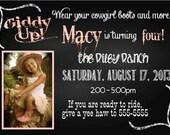 Digital Chalkboard Style Cowgirl Birthday Party Invitation DIY Printable
