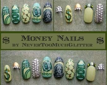 Money Money Money! Handpainted Money Fake Nails, Almond Stiletto Square Custom Design, Bling Money False Nails, Urban Fashion, Money Nails,