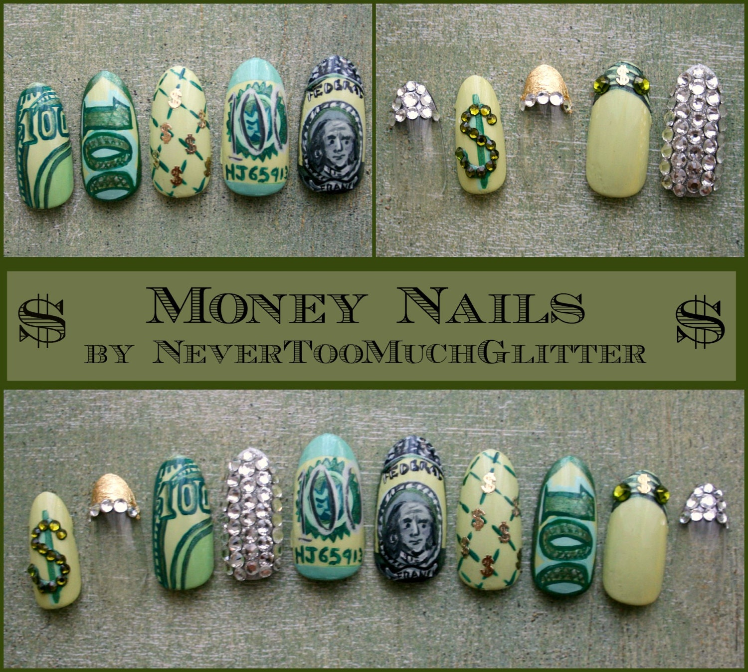 Handpainted money press on nails with swarovski crystals zoom prinsesfo Gallery