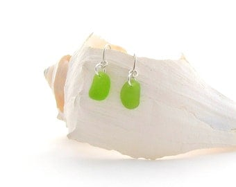 Fancy Ear Wires with/Lime Green Beach Glass/Sea Glass
