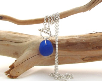 Sterling Silver Necklace w/Toggle Clasp and Beach Glass Drop - Cobalt