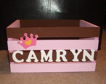 Personalized Wooden Princess Crate