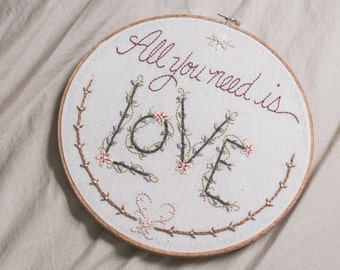 all you need is love, romantic embroidered wall art