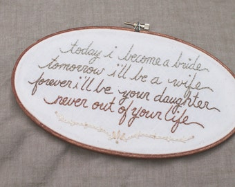 custom embroidered wedding quote