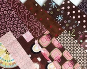 Pink and Brown Charm Pack--24 Different Fabrics--Cut  5 x 5