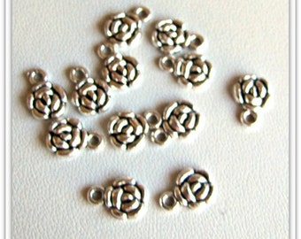 Flower Charms,  Earring findings, Bracelet charms, Anklet Charms, Silver drops, dangles, Silver findings 1 lot of 12 pieces Item #1002
