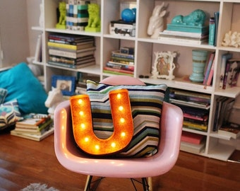 "SALE - Letter Light U - RUSTY - 12"" Vintage Marquee Lights-The Original!"