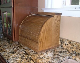 Oak Roll Top Bread Box with Drawer