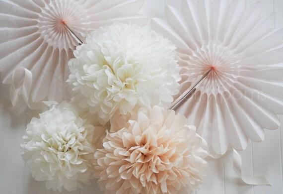 15 Tissue Pom Poms .. Weddings / Bridal Shower / Baby Shower / Baptism .. Custom Colors