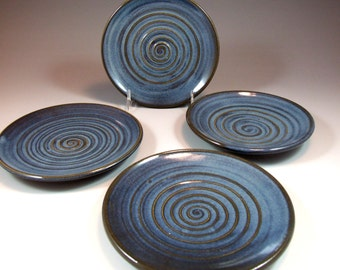 Set of 4 Swirl Textured Plates in Croc Blue Glaze Great for Dipping Oil