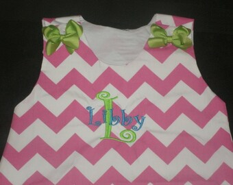 CLEARANCE 18 Month Personalized Chevron Aline Dress with bows Monogrammed Jumper