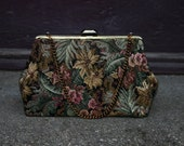 Vintage 80s Floral Tapestry Clutch With Chain