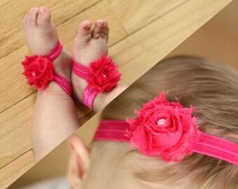 BOGO Fuchsia Baby Barefoot Sandals and Headband Sale