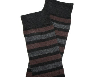 Black Brown Gray Striped Baby Leg Warmers