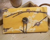 """CHECKBOOK Cover with Button and Elastic Closure in """"Sparrows"""" by Joel Dewberry"""
