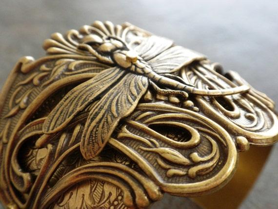 Dragonfly Bracelet Cuff Art Nouveau Jewelry