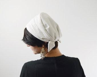 White Faux Leather Turban
