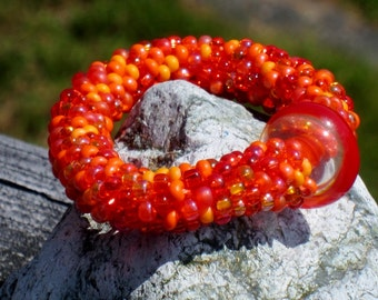 L.A. County Orange bead crochet bracelet....FREE SHIPPING...............