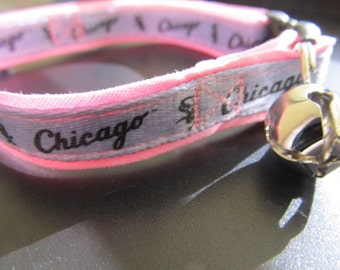 Chicago White Sox Cat  or Small Dog Collar with Option of Black or Pink Backing