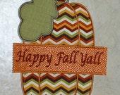 Embroidered Iron On Applique-Chevron Pumpkins