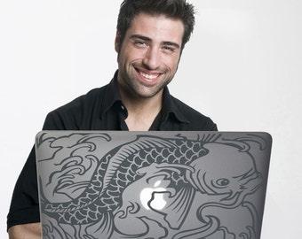 koi fish laptop decal custom fit, vinyl sticker art, traditional tattoo, japanese tattoo, FREE SHIPPING