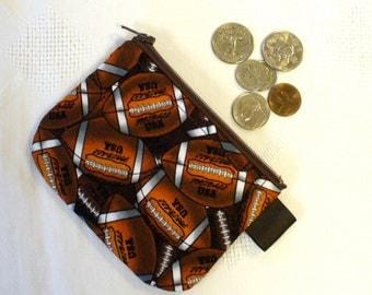 Football Fabric Boys Coin Purse Zipper Change Purse Coin Pouch Handmade MTO