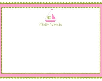 Preppy Sailboat Pink & Green Mongram Stationery, Notecards, Invitation Set