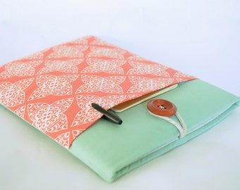 """Computer Case Laptop Sleeve Laptop Case 13 inch Custom Size 11""""-15"""" Cover Padded with Gadget Pocket - Coral Damask"""