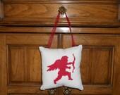 Cupid Cross Stitch Hanging Pillow