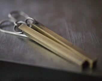 Simple long modern hoop and yellow brass bar earrings