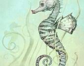 Seahorse Art Print  - Nautical Fantasy WALL Art  Print - Fantasy Art Seahorse  Print -  Green -Turquoise - Yellow - COLOR