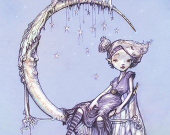 Waxing Moon Fairy Art Print  - Fantasy WALL Art  Print - giclée Fantasy Art Print -  purple - silver - MOON the Filigree