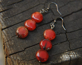 Geometric Dangle Earrings Minimalist Stacked Glass  - Red Poppies.