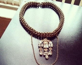 Isabel Rhinestone Chain Necklace
